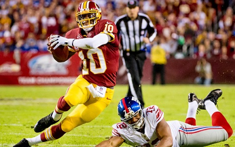 RG III makes a Giant miss, as he often did this season.