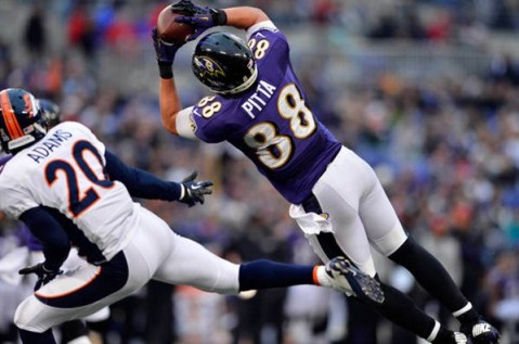 #88 has come on strong this postseason.  If the Ravens are going to pull up this upset, he better keep it up.