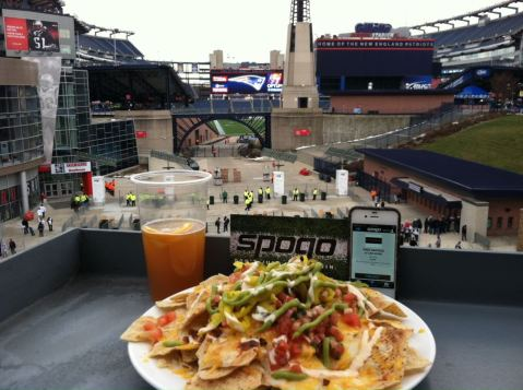 A picture perfect...picture.  Spogo makes an appearance at Gillette Stadium.