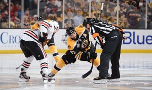 Patrice Bergeron has been dominating the BlackHawks in the faceoff circle.